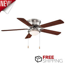 Low Profile Ceiling Fan Flush Mount Nickel Frosted Light Reversible Blades 52""