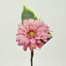 Artificial Silk Flowers Single Gerbera Buttonhole Dusky Pink