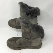 UGG Australia Womens Bailey Button Winter Boots Gray 5803 Round Toe 10