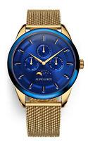 Filippo Loreti  Venice Moonphase Blue Gold Mesh Luxury Watch  *FREE LEATHER STRA