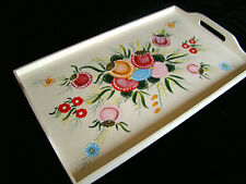 Vintage Painted Breakfast Food Tray Wooden Floral  - Wall Hanging