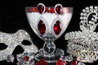 Brautschmuck, Hochzeit Ohrringe,Grosse Ohrhänger, XXL, Silber / Rot