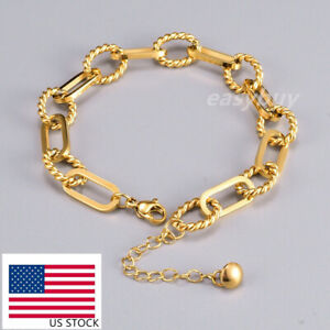7mm Woman 18K Gold Plated Stainless Steel Rope Rolo Link Thick Chain Bracelet