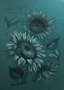 Sunflower flowers on a sunny day. Pencil and white pastel  original drawing A4