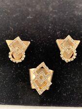 Vintage Gold Tone Geometric Rhinestone Western Shirt Collar Tips & Scarf Slide