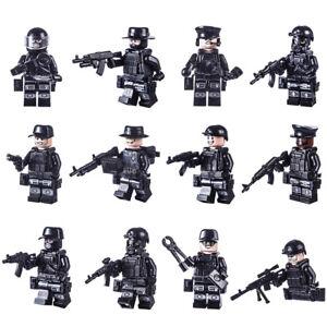 12 Mann Custom Brick PolizeiSwat Team mit Ausrüstung für Sluban®, Cobi® Lego ®