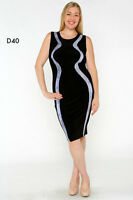 D40 Womens Black Formal Sleeveless Cocktail Party Midi Office Work Dress Plus