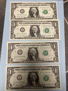 Lot Of Four (4) 1969 Series D Uncirculated $1 Bill