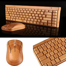 Environmental Bamboo Wooden 2.4G Wireless Keyboard Mouse Laser Lettering Set