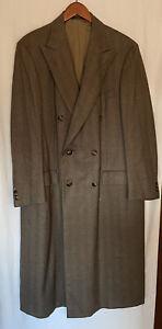 Ermenegildo Zegna Double Breasted Wool Cashmere Overcoat Herringbone 48/58R IT