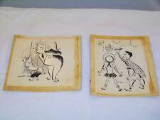 Vintage Pair Pen & Ink Comic Art Drawings