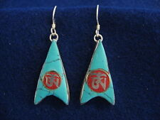 TIBETAN BUDDHISM TURQUOISE CORAL OM .925 STERLING SILVER EARRINGS INDIA