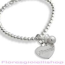 Bracciale ciondolo ciuccio e cuore con nome inciso in argento Gioiello per mamme