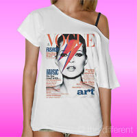 T-SHIRT DONNA COLLO BARCA COPERTINA VOGUE KATE MOSS BOWIE ROAD TO HAPPINESS