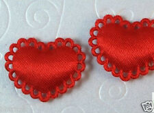 "US SELLER - 80 pcs x 1"" Padded Satin Valentine's Heart Appliques for Bows ST380"