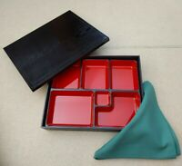 Black and Red Japanese Traditional Lunch Bento Box 6 Compartments Green Napkin