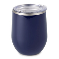 Double Wall Insulated Stemless Wine Tumbler Glass with Spill Proof Lid; 12 oz.