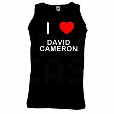 I Love Heart David Cameron - Quality Printed Cotton Gym Vest