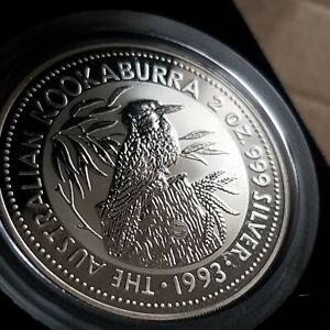 Australia kookaburra 2oz speciman Silver Proof Coin .1993 whale privy Mark #0013