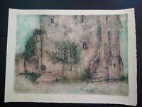 Grande lithographie H.C. Bernard GANTNER vieille maison ruines médievales signée