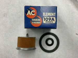 """1953-58 ONLY CORVETTE & CHEVY AC 109A """"BROWN"""" GAS FILTER ELEMENT & GASKETS NOS"""