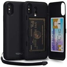 iPhone Xs Wallet Case Shockproof Card Holder Hard Cover Lightning Adapter Black