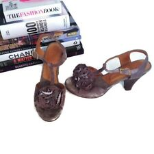 CHIE MIHARA Heels 36.5 Gray Suede Osmo T Strap Sandal Rosette Rose Anthropologie