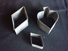 New listing Lot of 3 Antique Vintage Playing Card Suit Cookie Cutters Spades Diamonds
