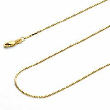 14K oro amarillo macizo Caja Collar Cadena De Oro Real Elegir Tamaños
