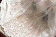 "Lace Fabric Ivory Tulle Cotton Retro Floral Embroidered Bridal 51"" width 1 yard"