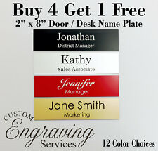 NAME PLATE for office desk or door sign plaque ENGRAVED 2 x 8 - BUY 4 GET 1 FREE