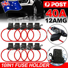 10x Inline Blade Fuse Holder - 40 AMP Heavy Duty 12AWG Cable In Line Car Auto OZ