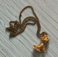 Vintage Signed Textured Gold Tone Proud Poodle Pendant On Gold Tone Chain