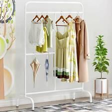 White Free Standing Metal Clothes Clothing Storage Rack Hanger Garment Bar