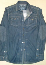 BNWT Mens FIRETRAP CORNY DENIM SHIRT. small. Solid Indigo.