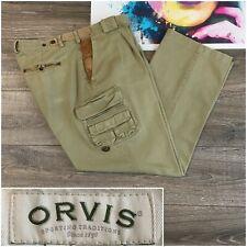 Vtg ORVIS Brown Heavy Cotton Cargo Work Pants Mens Size 38x30 Leather Trim