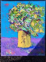 GREEN IN YELLOW Original Abstract Still Life Knife Painting TEXTURE 8x10 Flowers