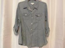 NWT Charter Club 14 Blue Denim Button Front Shirt Roll Up Sleeve Org $64.50