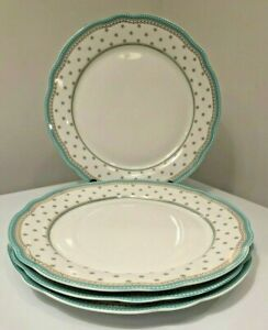 Set of 4 Salad Plate Josephine Aqua by GRACE'S TEAWARE_ New