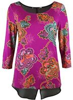 NEW Ex M&S Ladies  floral top with underlay hem Size 12 - 22