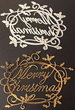 Merry Christmas + Holly Sentiment Metal Cutting Die New Cardmaking Scrapbooking