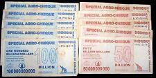 10 Zimbabwe agro cheque banknotes 5 x 50 & 100 Billion Dollars