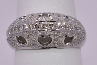 Pave Diamond Ring with cut-out Heart Silhouettes in 18K White Gold