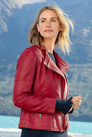 Red Leather Jacket Women Pure Lambskin Size XS S M L XL XXL Custom Made