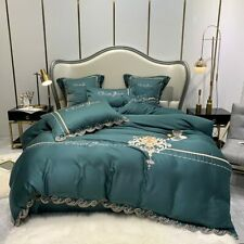 Tencel Duvet Cover Sets King Queen Size Bedding Sets Pillowcases Green Emroidery