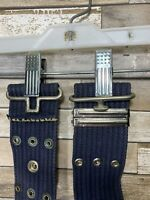 Vintage US Military USAF Air Force Navy Blue Web Belt With Snaps And Buckles
