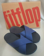 Fitflop Lulu Shimmer Slide On Midnight Navy Sandals Cross Strap Ladies Box Sz 6