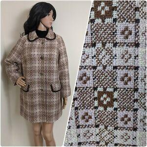 Vintage 60s Pale Pink Welsh Tapestry Wool Geo Coat Jacket Mod M 10 12 14 38