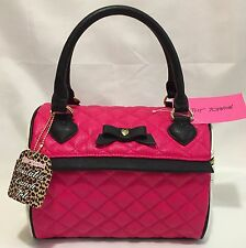 BETSEY JOHNSON Insulated SPEEDY Lunch Tote DIAMOND Quilted Bag FUCHSIA Black NWT