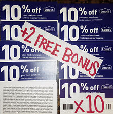 10 REAL plastic coated Lowe's coupons use@ LOWES & HOME DEPOT EXP 09/30 +3 BONUS